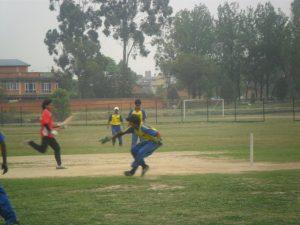 madhan Badhala taking Run against Team Chitwan