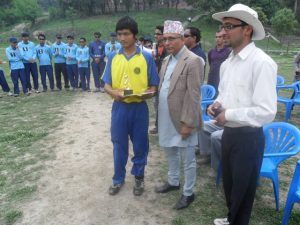 Awarding the man of the match to Birendra Kuwanr by Sports secretary of youth and ministry Mr. Sushil Ghimire