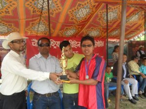 CAB, Nepal President awarding Runner up shield to Vally team
