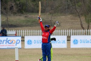 Nepal's Mankesi after scoring 50 runs