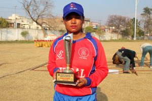 Mankeshi Chaudhary receiving Player of the Match Trophy