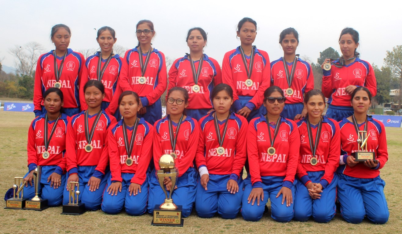 Nepali Blind Women Cricket team with the winning trophy after they won pakistan